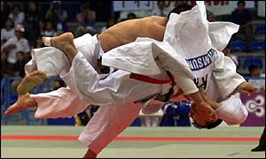 Judo players in action