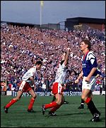Andy Smith celebrates his cup final goal against Rangers