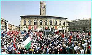 Square in downtown Bologna, in Italy, during the national rally organized by trade unions on May Day