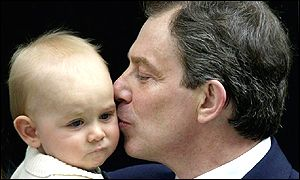 Tony Blair with his new-born baby Leo