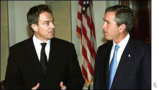 Tony Blair and George Bush meet after 11 September