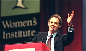 Tony Blair at the WI speech where he was slow hand-clapped