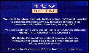 ITV Digital�s closure announcement