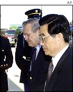 China Vice President Hu Jintao and US Defence Secretary Donald Rumsfeld