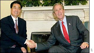 China Vice President Hu Jintao (L) and President Bush