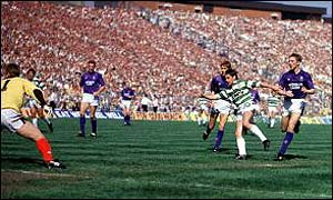 Joe Miller scores the decisive goal in the 1989 Cup final
