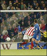 Stoke's winning goal against Cardiff City