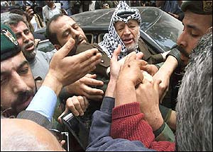 Arafat outside main hospital