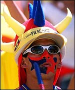 An Ecuadourean fan shows his colours