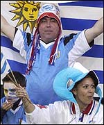 Uruguayan fans show their colours