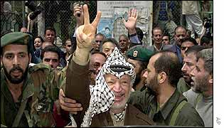 Arafat flashes V-sign