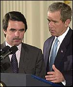 Jose Maria Aznar and George W Bush