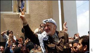 Yasser Arafat leaves his compound in Ramallah