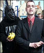 A gorilla and Stuart Drummond