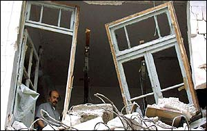 Broken windows in Nablus following Israeli raid