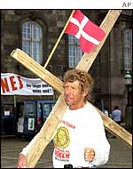 Danish anti-euro demonstrator