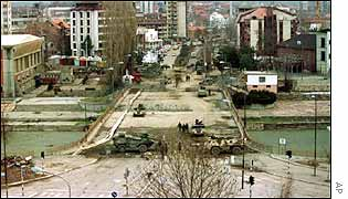 View over the bridge in Mitrovica near where the weapons were found