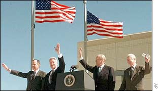 Former US presidents, from left George Bush, Bill Clinton, Gerald Ford and Jimmy Carter