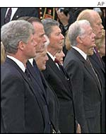 US presidents at Richard Nixon's funeral - from left, Bill Clinton, George Bush, Ronald Reagan, Jimmy Carter and Gerald Ford