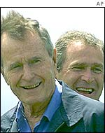 George Bush with his son, George W Bush