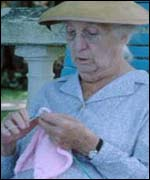 Miss Marple knitting