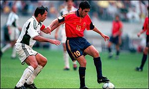 Raul in action for Spain