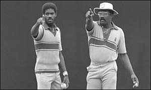 Michael Holding sets his field with skipper Clive Lloyd