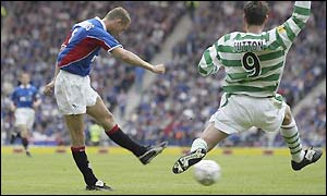 Peter Lovenkrands scores against Celtic for the second game running