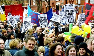 A teachers' demonstration about pay, London, March 2002