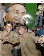 Musharraf's supporters celebrate his victory