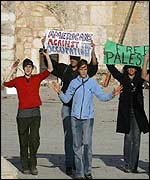 Peace activists outside the Church of the Nativity - 2 May