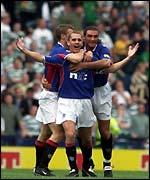 Rangers' Peter Lovenkrands celebrates his first of two goals