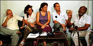 (left to right) Vladimiro Roca, Odilia Collazo (not jailed), Marta Beatriz Roque, Rene Gomez Manzano and Felix Bonne at 1997 news conference