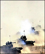 Indian tanks during an exercise