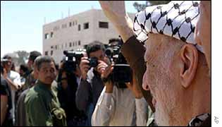 Yasser Arafat greets supporters in Ramallah