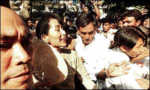 Aung San Suu Kyi thronged by supporters
