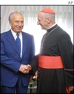 Cardinal Etchegaray with Israeli Foreign Minister Shimon Peres