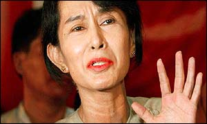 Aung San Suu Kyi addresses a press conference