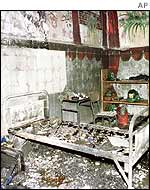 A cell charred by Saturday's fire