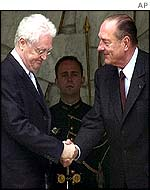 Resigning PM Jospin and President Chirac at Elysee Palace