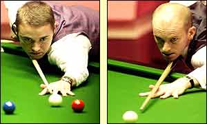 Stephen Hendry and Peter Ebdon in action on day two of the final at the Crucible