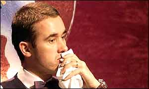 Stephen Hendry looked deep in thought early on day two of the World Snooker Championship final