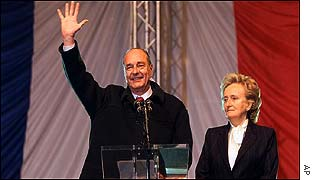 Jacques Chirac after winning election
