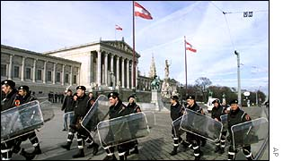 Riot police outside Austrian parliament