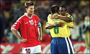 Michael Laudrup is devastated as Brazil win 3-2 in the quarter-finals of World Cup 1998
