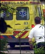Ambulance at the scene of the shooting