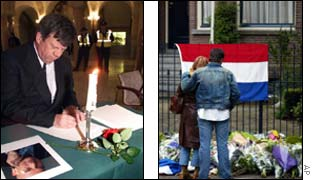 The mayor of Rotterdam (l) and many others pay their respects