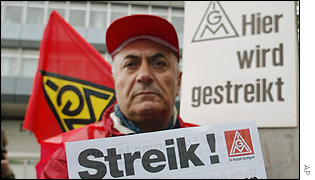 IG Metall worker on strike