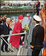 The Queen boards the new Falmouth lifeboat