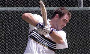 Justin Langer in the nets